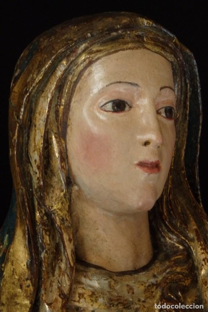 Arte: Santa Ana. Escultura del siglo XVII en madera tallada, estofada y dorada. Mide 74 cm de altura. - Foto 6 - 174268678
