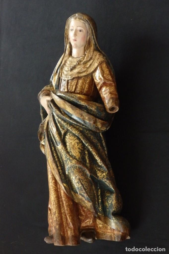 Arte: Santa Ana. Escultura del siglo XVII en madera tallada, estofada y dorada. Mide 74 cm de altura. - Foto 7 - 174268678