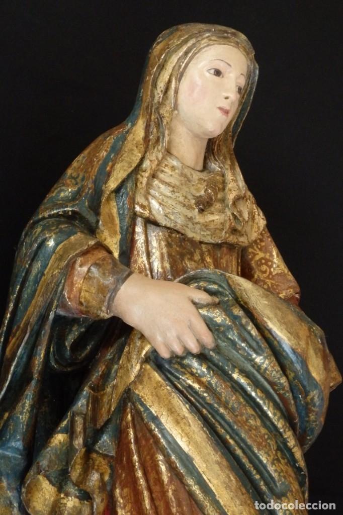 Arte: Santa Ana. Escultura del siglo XVII en madera tallada, estofada y dorada. Mide 74 cm de altura. - Foto 8 - 174268678