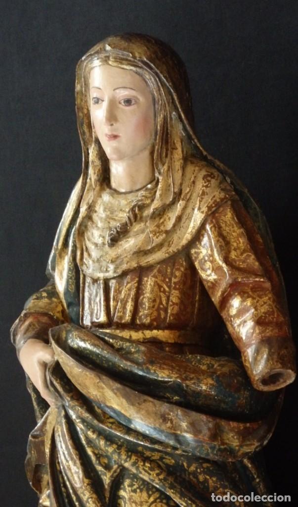 Arte: Santa Ana. Escultura del siglo XVII en madera tallada, estofada y dorada. Mide 74 cm de altura. - Foto 9 - 174268678