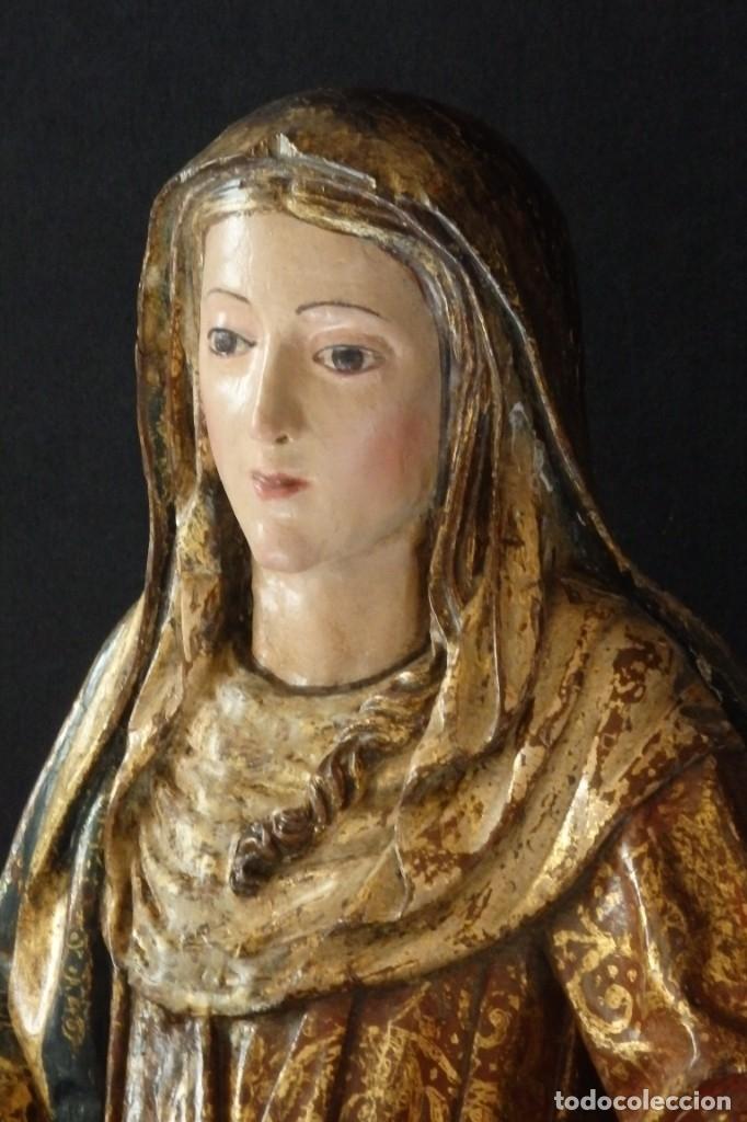 Arte: Santa Ana. Escultura del siglo XVII en madera tallada, estofada y dorada. Mide 74 cm de altura. - Foto 10 - 174268678