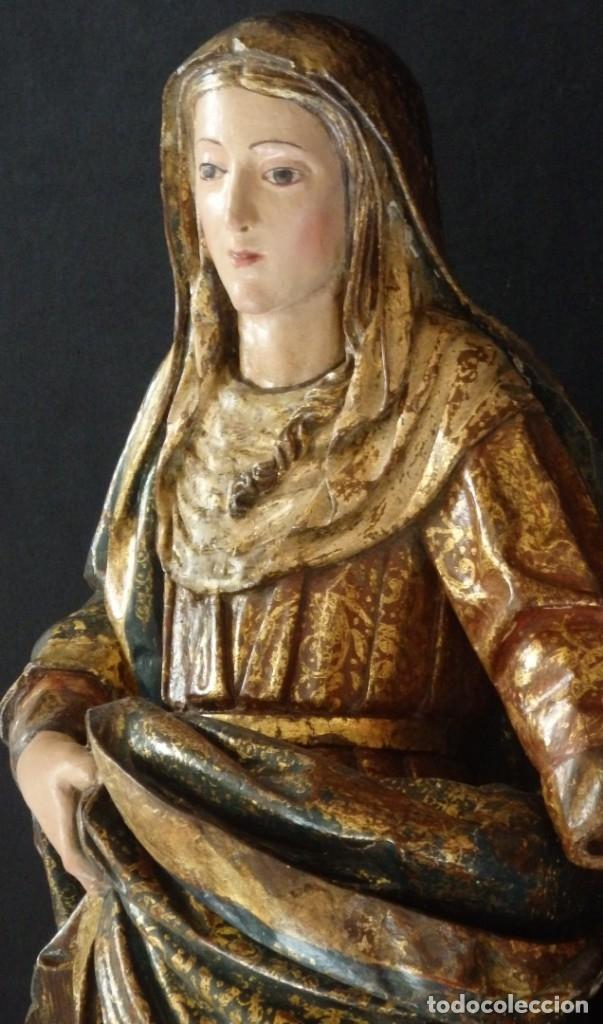 Arte: Santa Ana. Escultura del siglo XVII en madera tallada, estofada y dorada. Mide 74 cm de altura. - Foto 11 - 174268678