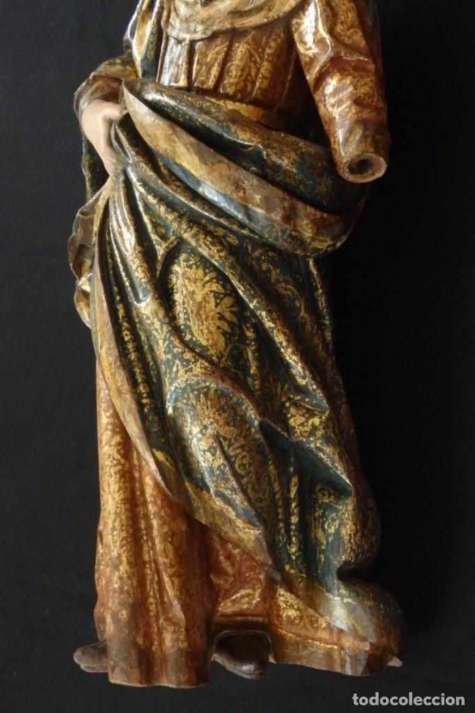 Arte: Santa Ana. Escultura del siglo XVII en madera tallada, estofada y dorada. Mide 74 cm de altura. - Foto 13 - 174268678