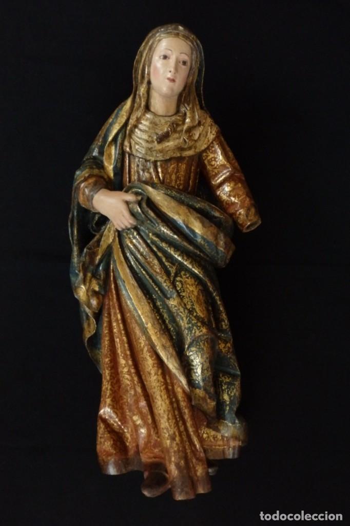 Arte: Santa Ana. Escultura del siglo XVII en madera tallada, estofada y dorada. Mide 74 cm de altura. - Foto 15 - 174268678