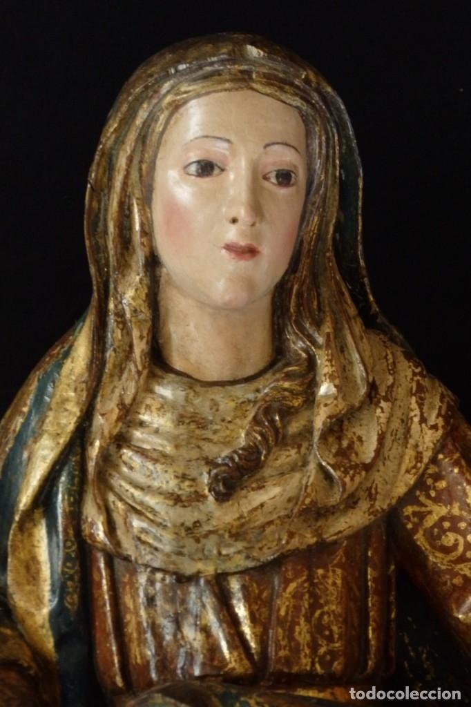 Arte: Santa Ana. Escultura del siglo XVII en madera tallada, estofada y dorada. Mide 74 cm de altura. - Foto 16 - 174268678