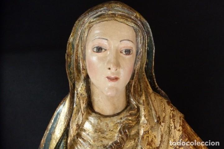 Arte: Santa Ana. Escultura del siglo XVII en madera tallada, estofada y dorada. Mide 74 cm de altura. - Foto 18 - 174268678