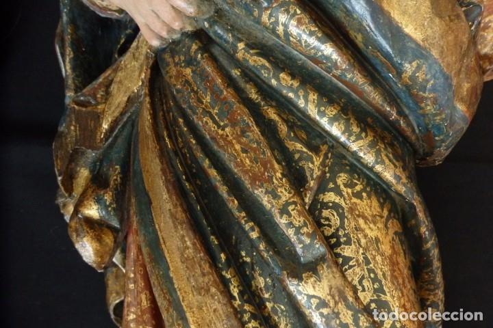 Arte: Santa Ana. Escultura del siglo XVII en madera tallada, estofada y dorada. Mide 74 cm de altura. - Foto 20 - 174268678