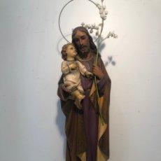 Arte: SAN JOSE CON NIÑO JESUS DE ESTUCO ANTIGUO, MODELO OLOT. PARA RESTAURAR. 50CM.. Lote 174375805