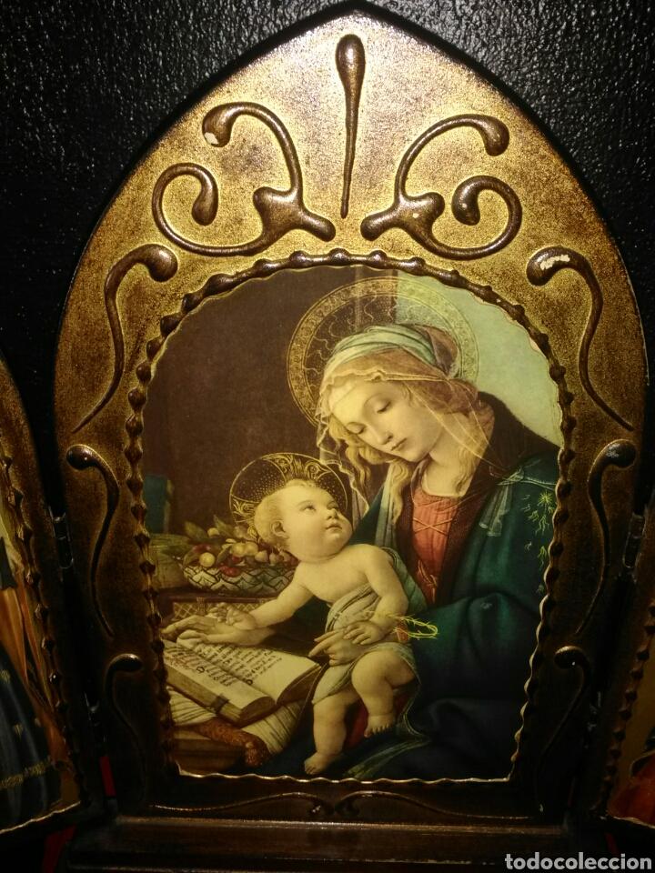 Arte: PRECIOSO TRÍPTICO RELIGIOSO.VIRGEN MARÍA CON NIÑO. ARCANGELES. - Foto 2 - 174377400