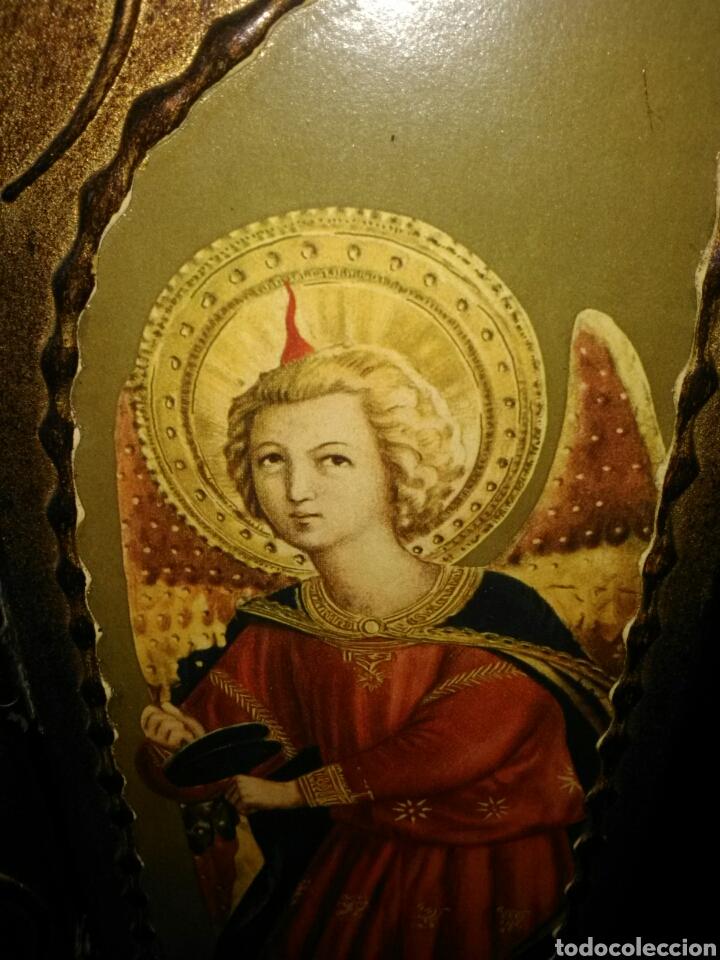 Arte: PRECIOSO TRÍPTICO RELIGIOSO.VIRGEN MARÍA CON NIÑO. ARCANGELES. - Foto 5 - 174377400