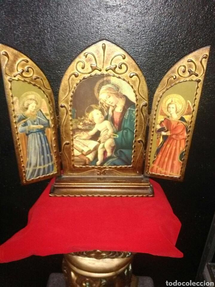 Arte: PRECIOSO TRÍPTICO RELIGIOSO.VIRGEN MARÍA CON NIÑO. ARCANGELES. - Foto 6 - 174377400