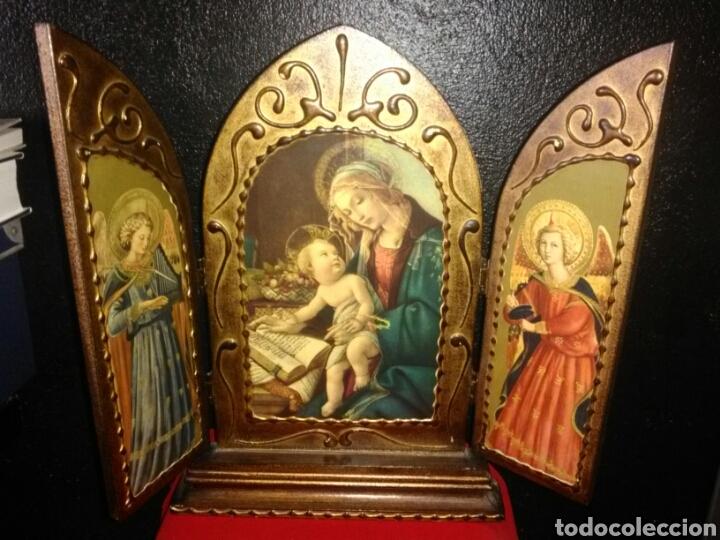PRECIOSO TRÍPTICO RELIGIOSO.VIRGEN MARÍA CON NIÑO. ARCANGELES. (Arte - Arte Religioso - Trípticos)