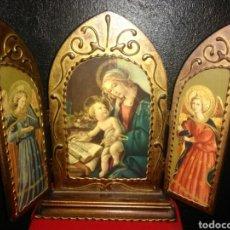 Arte: PRECIOSO TRÍPTICO RELIGIOSO.VIRGEN MARÍA CON NIÑO. ARCANGELES.. Lote 174377400
