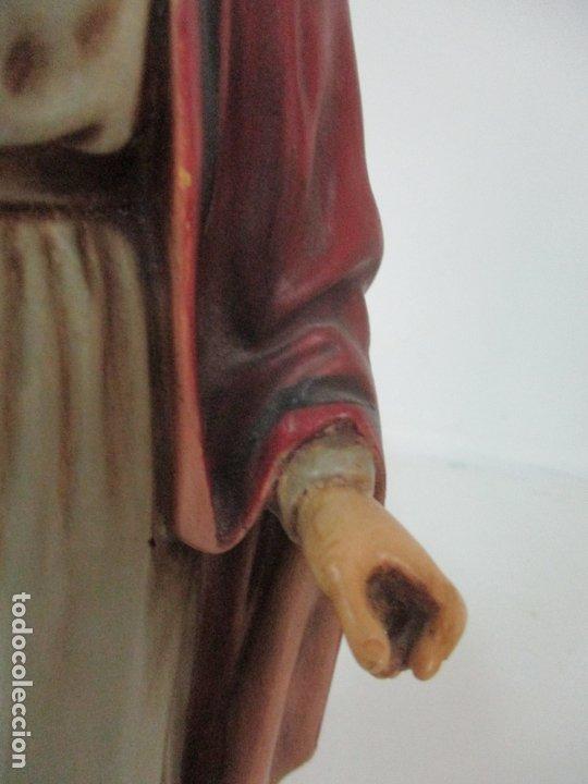 Arte: Curiosa Virgen - Santa Irene - Estuco Policromado - Sello Arte Olotense, Olot - Principios S. XX - Foto 7 - 174580274