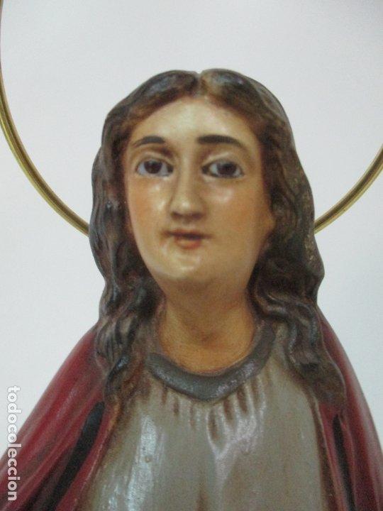 Arte: Curiosa Virgen - Santa Irene - Estuco Policromado - Sello Arte Olotense, Olot - Principios S. XX - Foto 9 - 174580274