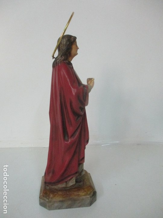Arte: Curiosa Virgen - Santa Irene - Estuco Policromado - Sello Arte Olotense, Olot - Principios S. XX - Foto 10 - 174580274