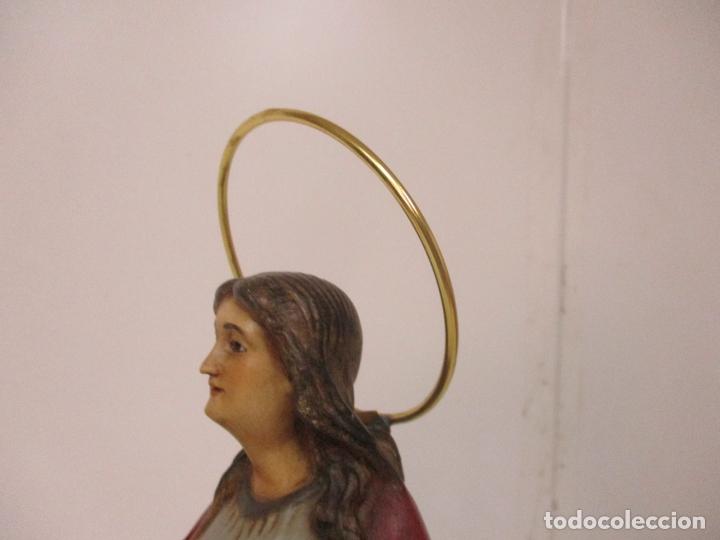 Arte: Curiosa Virgen - Santa Irene - Estuco Policromado - Sello Arte Olotense, Olot - Principios S. XX - Foto 16 - 174580274
