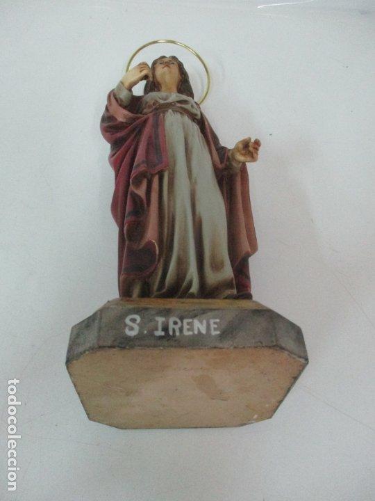 Arte: Curiosa Virgen - Santa Irene - Estuco Policromado - Sello Arte Olotense, Olot - Principios S. XX - Foto 17 - 174580274