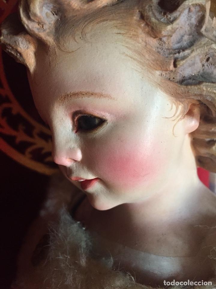 Arte: Precioso San Juanito, imagen vestidera, cap i pota en madera policromada. Siglo XIX. - Foto 4 - 174585310