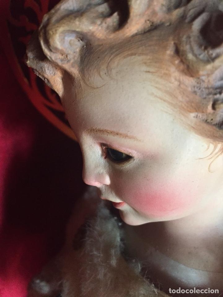 Arte: Precioso San Juanito, imagen vestidera, cap i pota en madera policromada. Siglo XIX. - Foto 5 - 174585310