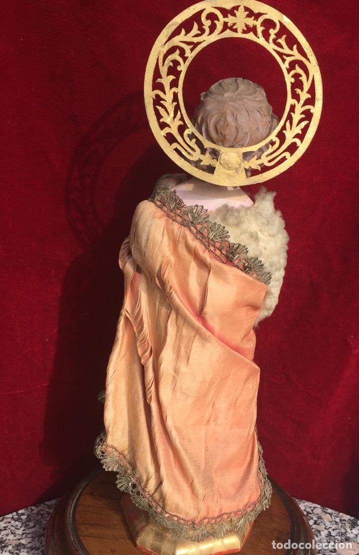 Arte: Precioso San Juanito, imagen vestidera, cap i pota en madera policromada. Siglo XIX. - Foto 7 - 174585310