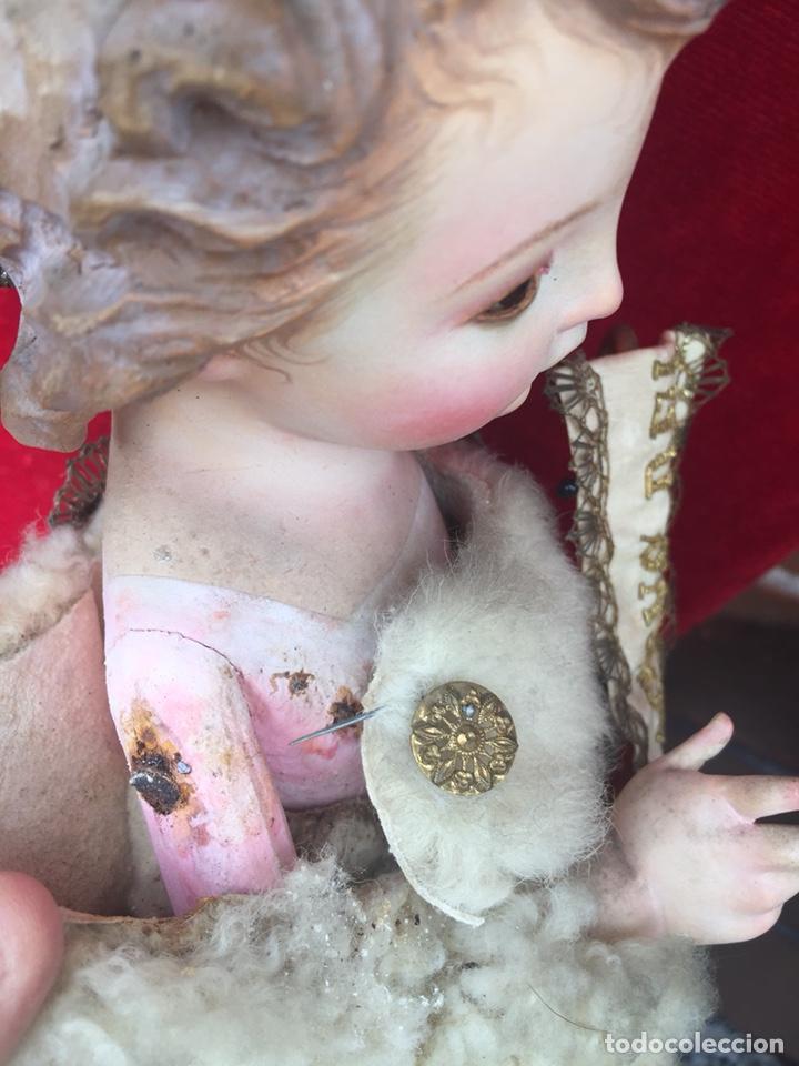 Arte: Precioso San Juanito, imagen vestidera, cap i pota en madera policromada. Siglo XIX. - Foto 13 - 174585310