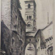 Arte: PAISAJE TINTA ACUARELA ORIGINAL FIRMADO MUNAR. Lote 174595269
