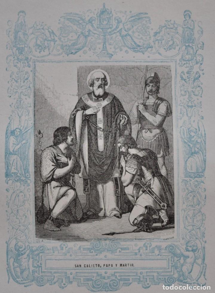 SAN CALIXTO, PAPA Y MARTIR - GRABADO DÉCADAS 1850-1860 - BUEN ESTADO (Arte - Arte Religioso - Grabados)