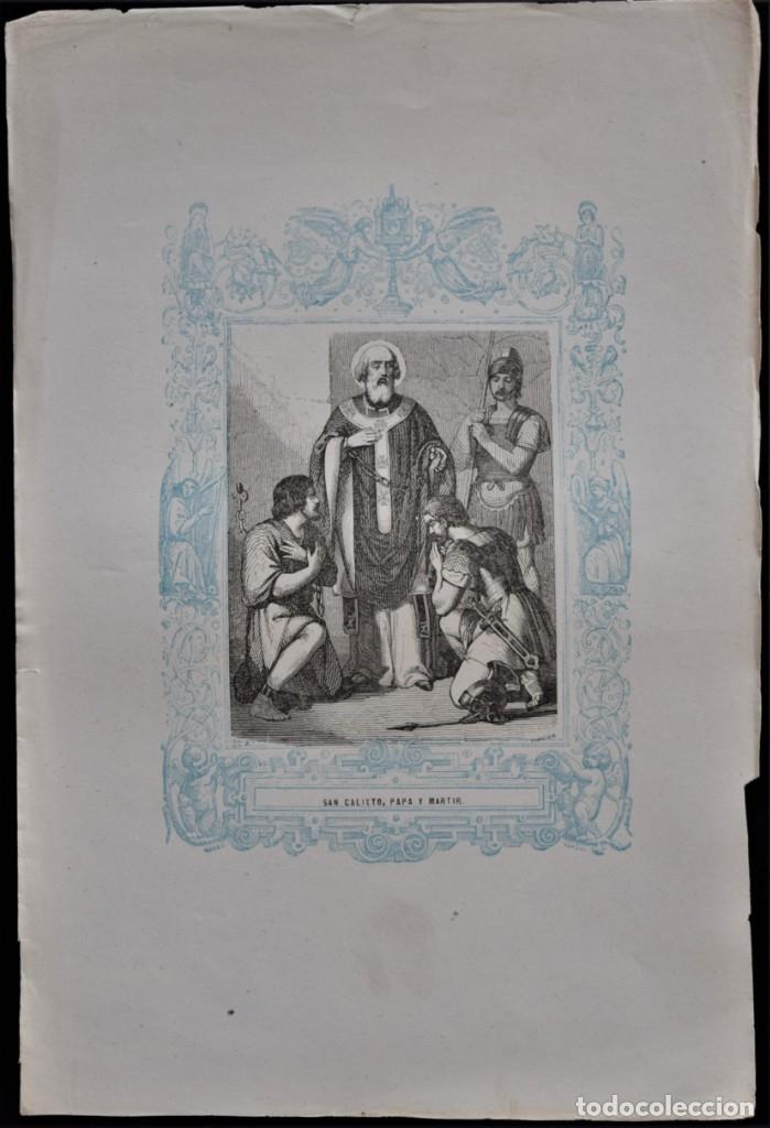 Arte: SAN CALIXTO, PAPA Y MARTIR - GRABADO DÉCADAS 1850-1860 - BUEN ESTADO - Foto 2 - 174650667