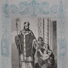 Arte: SAN FERMÍN, OBISPO - GRABADO DÉCADAS 1850-1860 - BUEN ESTADO. Lote 174651307