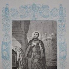 Arte: SAN FRANCISCO DE BORJA, CONFESOR - GRABADO DÉCADAS 1850-1860 - BUEN ESTADO. Lote 174651689