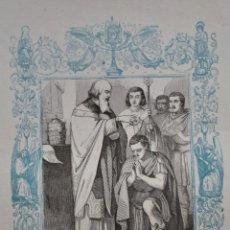 Arte: SAN SILVESTRE PAPA Y CONFESOR - GRABADO DÉCADAS 1850-1860 - BUEN ESTADO. Lote 174652959