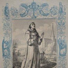 Arte: SAN PASCUAL BAILÓN, CONFESOR - GRABADO DÉCADAS 1850-1860 - BUEN ESTADO. Lote 174653284