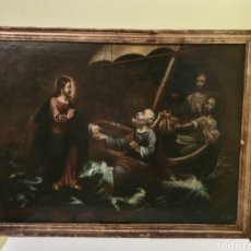 Arte: ANTIGUO OLEO RELIGIOSO SOBRE LIENZO CON CAÑA DORADA EN ORO LA PESCA MILAGROSA S.XVIII. Lote 160738278