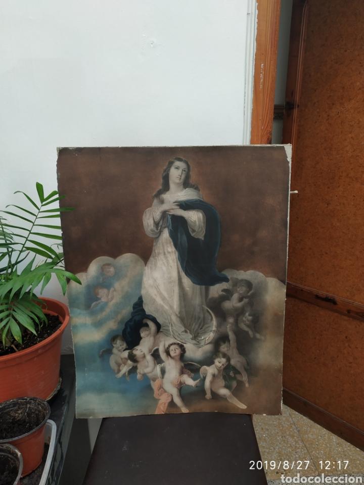 LÁMINA ANTIGUA VIRGEN (Arte - Arte Religioso - Pintura Religiosa - Otros)
