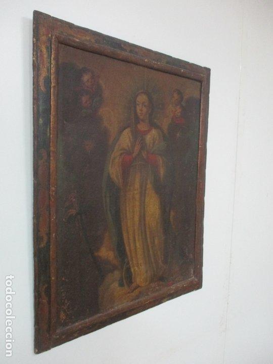 Arte: Pintura - Óleo sobre Tela - Virgen Purísima - Escuela Española - con Marco Original - S. XVIII - Foto 2 - 174965448