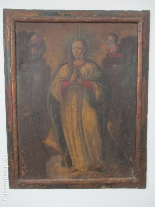 Arte: Pintura - Óleo sobre Tela - Virgen Purísima - Escuela Española - con Marco Original - S. XVIII - Foto 3 - 174965448