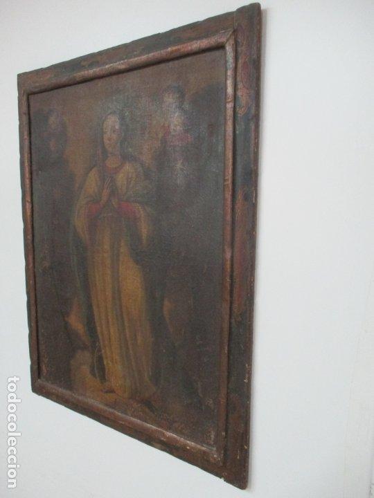 Arte: Pintura - Óleo sobre Tela - Virgen Purísima - Escuela Española - con Marco Original - S. XVIII - Foto 4 - 174965448