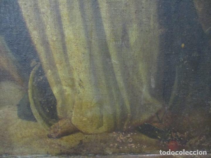 Arte: Pintura - Óleo sobre Tela - Virgen Purísima - Escuela Española - con Marco Original - S. XVIII - Foto 5 - 174965448