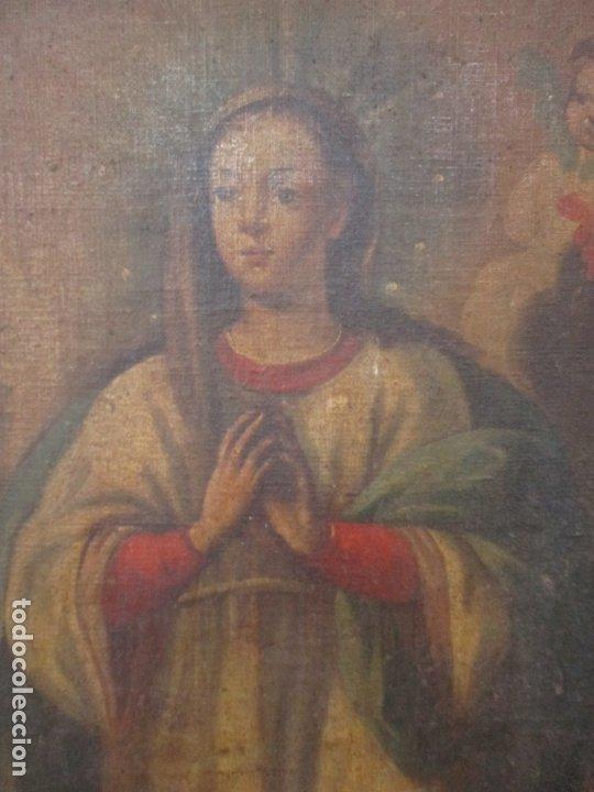 Arte: Pintura - Óleo sobre Tela - Virgen Purísima - Escuela Española - con Marco Original - S. XVIII - Foto 6 - 174965448