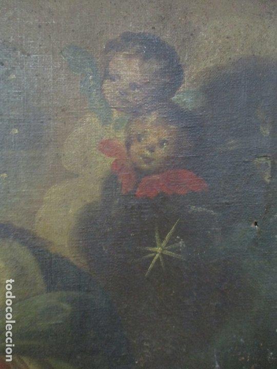 Arte: Pintura - Óleo sobre Tela - Virgen Purísima - Escuela Española - con Marco Original - S. XVIII - Foto 7 - 174965448