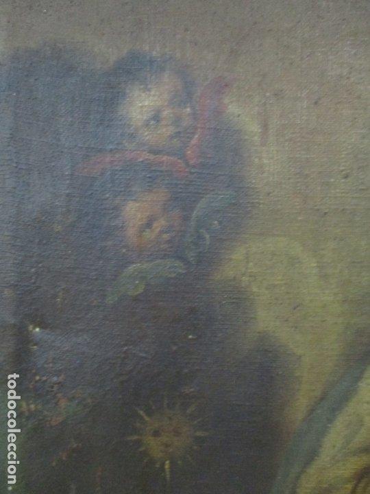 Arte: Pintura - Óleo sobre Tela - Virgen Purísima - Escuela Española - con Marco Original - S. XVIII - Foto 8 - 174965448