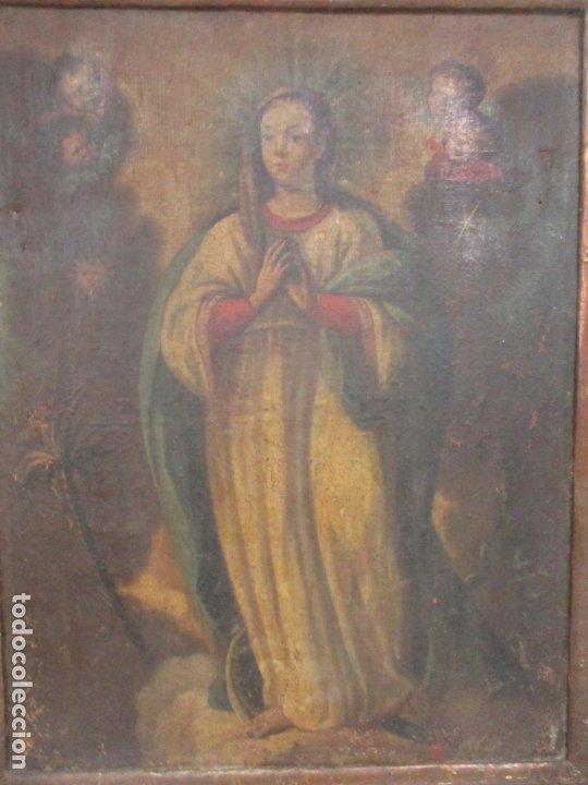 Arte: Pintura - Óleo sobre Tela - Virgen Purísima - Escuela Española - con Marco Original - S. XVIII - Foto 9 - 174965448
