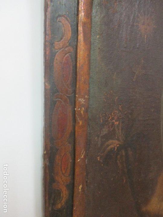 Arte: Pintura - Óleo sobre Tela - Virgen Purísima - Escuela Española - con Marco Original - S. XVIII - Foto 13 - 174965448