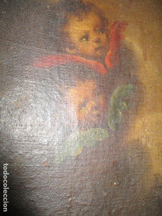 Arte: Pintura - Óleo sobre Tela - Virgen Purísima - Escuela Española - con Marco Original - S. XVIII - Foto 17 - 174965448