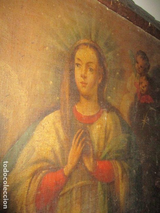 Arte: Pintura - Óleo sobre Tela - Virgen Purísima - Escuela Española - con Marco Original - S. XVIII - Foto 18 - 174965448