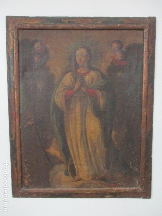 Arte: Pintura - Óleo sobre Tela - Virgen Purísima - Escuela Española - con Marco Original - S. XVIII - Foto 19 - 174965448