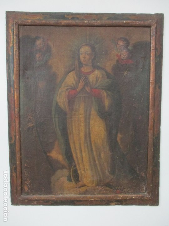 PINTURA - ÓLEO SOBRE TELA - VIRGEN PURÍSIMA - ESCUELA ESPAÑOLA - CON MARCO ORIGINAL - S. XVIII (Arte - Arte Religioso - Pintura Religiosa - Oleo)