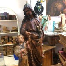 Arte: ANTIGUO SAN JOSE TIPO OLOT CON OJOS DE CRISTAL - MEDIDA 42 CM - RELIGIOSO. Lote 174984934