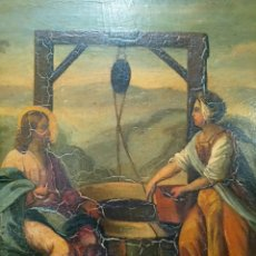 Arte: SIGLO XIX JESÚS Y MARÍA AL POZO, DETRÁS PONE PINTÓ MIRANDA 1864, ÓLEO SOBRE CARTÓN CM 30,4X30,2. Lote 175025789
